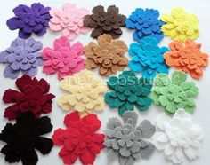 Felt Flower. 72 pieces. Perfect for crafts, scrapbooking, cards, gift tags, headbands, hair clips and more via Etsy
