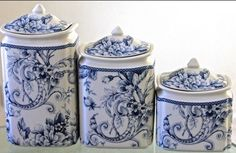 222 FIFTH Adelaide Blue White Canister with Lids Set 3 ~New ~ | Pottery & Glass, Pottery & China, China & Dinnerware | eBay!