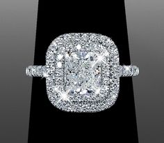 Double Halo setting by Vanessa Nicole. I love everything she created! #diamond #cushion