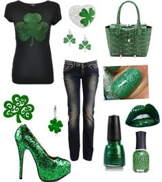 Designer Clothes, Shoes & Bags for Women Rocker Fashion, Rocker Style, St Pattys, Saints, Hairstyles, Shoe Bag, My Style, Makeup, Clothing
