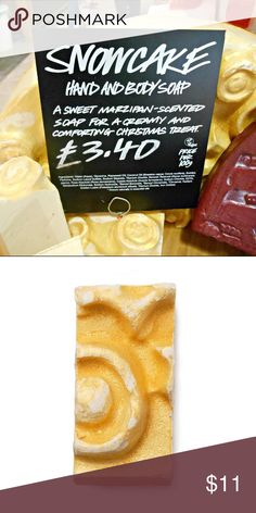 ✨LUSH LTD EDITION SNOWCAKE SOAP ✨ NWT! Still in packaging! ✨LIMITED EDITION CHRISTMAS SNOWCAKE SOAP✨  This creamy softy is made with soothing rose and benzoin resinoid (known for its sweet vanilla ice-cream scent) making it wonderfully soothing on dry winter skin. Its marzipan scent is just what you need during the season of sweet indulgences - it smells good enough to eat! But don't because it's still soap afterall. 2.1 OZ Lush Other