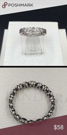 "Pandora Ring NWOT Pandora ""Forever More"" ring, size 7 (54).  Properly hallmarked S925 ALE. Pandora box not available. No trades or off-Posh transactions. Thanks and happy Poshing!! Pandora Jewelry Rings"