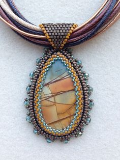 My second bead embroidery pendant.  I just love these colors!