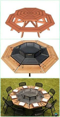 Houseplants That Filter the Air We Breathe Diy Jag Style Octagon Grill Picnic Table Instruction - Diy Backyard Grill Projects Diy Outdoor Furniture, Garden Furniture, Backyard Projects, Garden Projects, Backyard Ideas, Diy Projects, Grill Diy, Bbq Diy, Table Grill