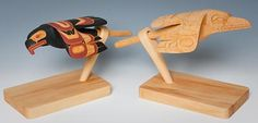 Pacific Northwest Indian Art of the raven | Eagle and Raven Rattles, Erich Glendale, Carved wood