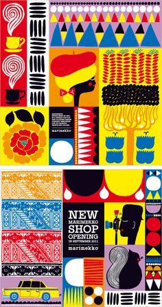 Illustrations for a new Marimekko shop opening on 5th Avenue in New York.