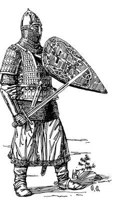 Russian warrior in heavy armor. Medieval Knight, Medieval Armor, Byzantine Army, Eslava, 4 Tattoo, Military Drawings, Empire Romain, Arm Armor, Knights Templar