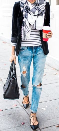 Cool 45 Ways to Style with your Boyfriend Jeans #fashiongifts