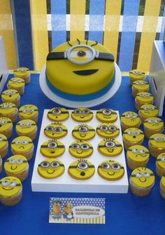 Fun cake and cupcakes at a Despicable Me birthday party! See more party planning ideas at CatchMyParty.com!
