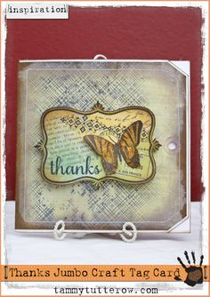 Take Two Thursday: Butterfly Thanks Card featuring the Pastel Background on Kraft Technique