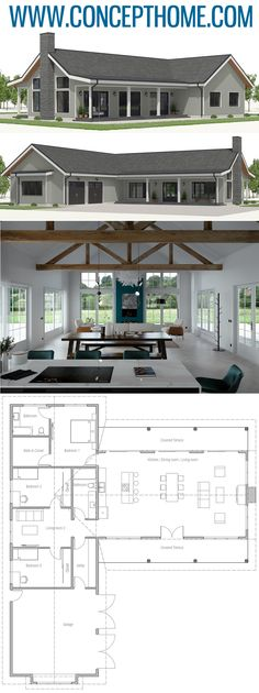 I like the floor plan pictured here, but the link does not provide a website or specific information for this houseplan. I love all the windows and open floor plan pictured. Barn House Plans, Dream House Plans, Small House Plans, Modern House Plans, House Plans With Pool, One Floor House Plans, Beautiful House Plans, Modern Floor Plans, European House Plans