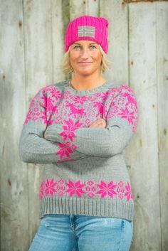 Barfota Trysil strikket genser, grå/rosa
