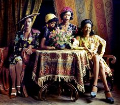 The Pointer Sisters, June, Ruth, Bonnie and Anita, wearing vintage styles from the forties in 1973. The sisters were preachers daughters who topped the R&B and pop charts and were nominated for over a dozen Grammy Awards in the pop, R&B and country categories.