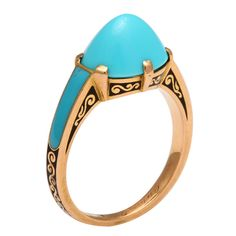 Cartier Cabochon Turquoise Ring / set in gold with black and turquoise enamel / c. 1930, France