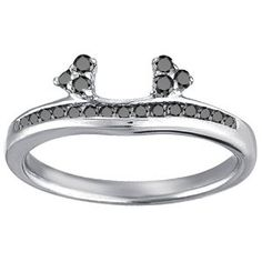Sterling Silver Engagement Ring Wrap (0.25 crt. Black Cubic Zirconia). - http://www.wonderfulworldofjewelry.com/jewelry/sterling-silver-engagement-ring-wrap-025-crt-black-cubic-zirconia-com/ - Your First Choice for Jewelry and Jewellery Accessories