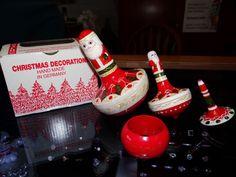Santa Claus Nesting Doll Matryoshka Toy Spinning Top Signed Steinbach