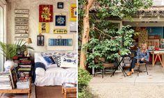 No cantinho do quintal, o muro dos fundos e as paredes laterais serviram de alicerce para o ateliê da artista plástica Priky Zuccolo. Do lado de fora, uma árvore de araçá, plantada por ela, divide o jardim com bananeiras e alpíneas vermelhas. #refúgio #relax #jardim #relaxar #garden #plantas