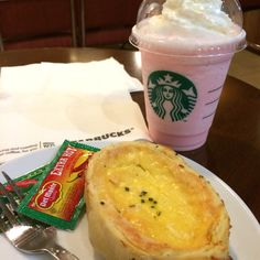 Cotton candy frappuccino with smoked beef quiche @Starbucks