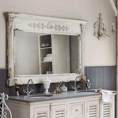 Miroir en bois blanc H 97 cm ALBANE