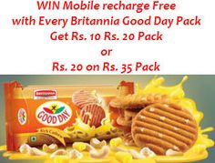 Freecharge Holi Recharge Cashback Offer : Rs.10 & 20 Free Recharge on buy Britannia Good Day - Best Online Offer