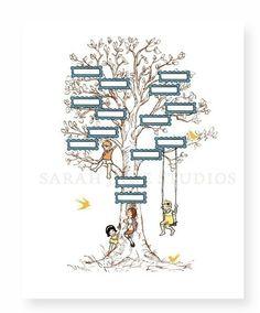 Children's family tree wall art from Sarah Jane Studios. It is a three generation pedigree chart that you fill in. Family Tree Print, Family Tree Chart, Family Trees, Family Kids, Pedigree Chart, Childrens Wall Art, Michael Miller Fabric, Nursery Room Decor, Bedroom Wall
