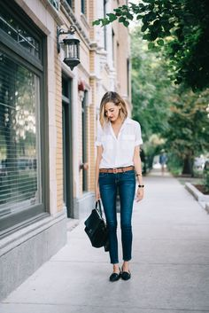 classic simple outfit, jeans and white blouse
