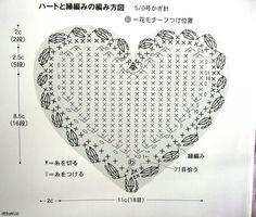 Crochet heart pattern - Patrón corazón de ganchillo