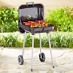 Charcoal Grill 17.5-Inch Square Portable BBQ with Wheels Outdoor Garden Cooking #ExpertGrill