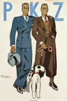 Poster for PKZ by Marcel Jacques Hemjic (1894- ). Dressed to the nines, just to take the dog for a walk. Nice!