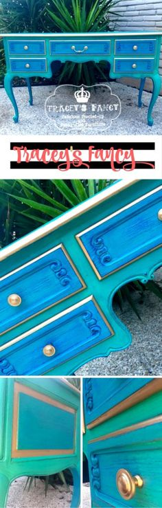 Learn how to do a layered paint technique on painted furniture following Tracey as she paints this vanity with peacock colors by Heirloom…