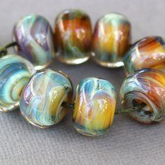 Lampwork Beads  Boro Beads  Maroon & Sage Green Swirl by Firelily, $26.00