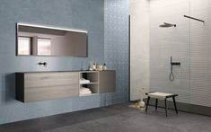 MODERNÁ KÚPEĽŇA - Trendové obklady do kúpeľne / BENEVA Modern Floor Tiles, Wall And Floor Tiles, Wall Tiles, Cement, Concrete, Coral Walls, Tile Design, Contemporary Architecture, Bathroom Wall