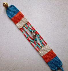 Needle Weaving Bracelet. Pin Weaving, Card Weaving, Loom Weaving, Tapestry Weaving, Textile Jewelry, Macrame Jewelry, Fabric Jewelry, Jewellery, Bead Loom Bracelets