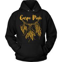 Carpe Diem w/ Beautiful Dreamcatcher & * Bohemian Inspired Fashion T-Shirt / - Gold Print