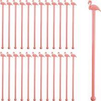 Pink Flamingo Cocktail Stirrers - Set of 24