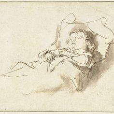 Slapend jongetje, Rembrandt Harmensz. van Rijn (follower of), after Rembrandt Harmensz. van Rijn, 1635 - 1660 - Rijksmuseum