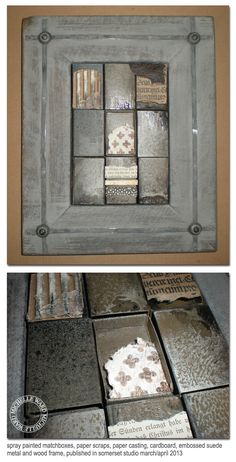 Michelle Ward: painted matchboxes with paper, paper castings, text...