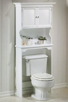 Hampton Bay Space Saver with Wood Doors #HomeDecorators  Pretty. I like the design on the toilet as well.