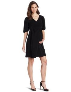 Olian Women's Maternity Kora V-Neck Dress, Black, X-Small Olian. $54.00