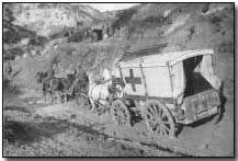 Horse-drawn ambulance at Helles - The landing at Cape Helles was part of the amphibious invasion of the Gallipoli peninsula by British and French forces on 25 April 1915 during the First World War.