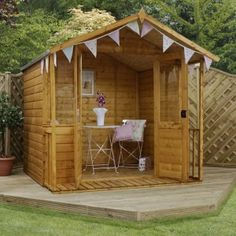 This Rowlinson x Shiplap Garden Bar Shed is the perfect way to wind down and relax on a perfect summer's day. It is a two in one shed where you can store all your gardening tools or open the serving hatches for beers and entertainment with friends.