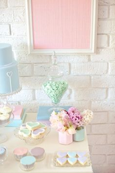 Pastel Wedding or Baby Shower - dessert buffet table Soft Colors, Pastel Colors, Colours, Imagenes Color Pastel, Futaba Y Kou, Dessert Buffet Table, Breakfast Buffet, Candy Buffet, Pastel Balloons