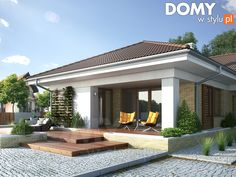 Aksamit 4 on Behance Modern Bungalow Exterior, Modern Bungalow House, House Layout Plans, House Layouts, Three Bedroom House Plan, Small Villa, Flat Roof House, Model House Plan, House Design Pictures
