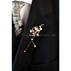Crystal Pearl Groom Brooch Boutonniere Groom Broach Boutonniere... ($29) ❤ liked on Polyvore featuring jewelry, brooches, black, weddings, black prom jewelry, gold brooch, pearl jewelry, black brooch and bridal party jewelry