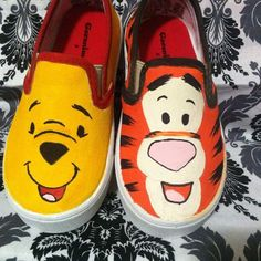 Handpainted Pooh & Tigger Shoes by HappyPlaceStudios on Etsy Disney Painted Shoes, Painted Canvas Shoes, Custom Painted Shoes, Hand Painted Shoes, Painted Converse, Disney Outfits, Disney Shoes, Disney Vans, Disney Clothes
