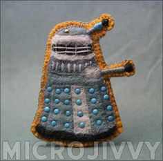 Dr. Who Dalek Felt Badge by Jivvy - Includes a PDF pattern! Using brads is a great idea. :)