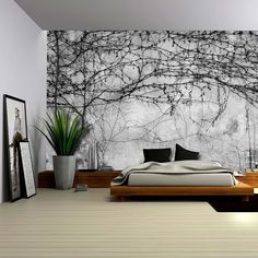 Amazon.com: Wall26 - Black Branches Growing on a Pavement Wall - Wall Mural, Removable Wallpaper, Home Decor - 66x96 inches: Home & Kitchen