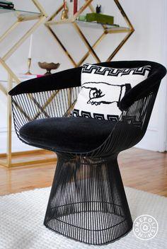Deco Dreamland - The Knoll Platner with Jonathan Adler pillow: http://www.jonathanadler.com/decor-and-pillows/shop-by-category/pillows/needlepoint-pillows