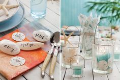 Take inspiration from the sea when creating a beautiful beach-themed summer tablescape.