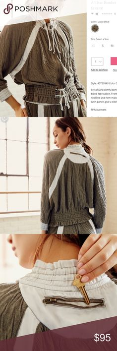 Free People All Star Bomber NWOT dusty olive bomber. so soft and comfy  featuring a lightweight cotton blend fabrication. FP movement- XS is currently sold out!  Front zip and elastic detail at the neckline and hem make for an easy, effortless look 70% cotton, 23% polyester 7% rayon Free People Jackets & Coats